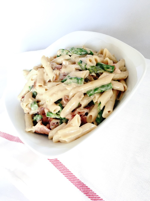 Chicken Apple and Asparagus Pasta with Sweet Onion Cream Sauce | Nosh and Nurture